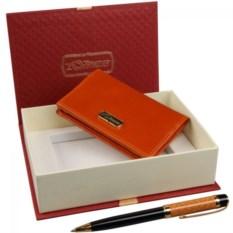 Оранжевый подарочный набор Визитница и ручка