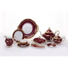 Фарфоровый чайный сервиз на 6 персон Ювел красный