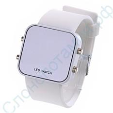 Белые наручные зеркальные часы Led Watch