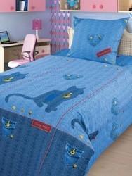 Комплект подросткового постельного белья Джинсовый кот