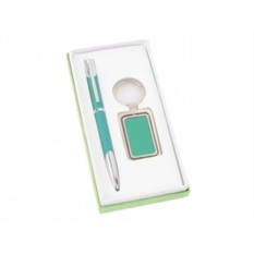 Набор: зеленые шариковая ручка и брелок