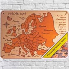 Деревянный пазл в светлой раме Карта Европы на английском