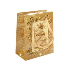 Бумажно-ламинированный пакет Новогодний золотистого цвета