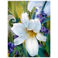 Картина-раскраска по номерам на холсте Белая лилия