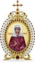 Серебряная настольная икона с финифтьевым образом Святой мученицы Натальи