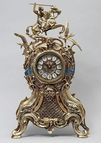 Часы из бронзы Всадник и птицы