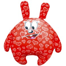 Красная подушка-игрушка Зайчик влюбленное сердце