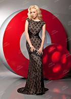 Вечернее платье из джерси, атласа и кружева, черное-бежевое