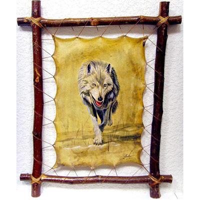 Картина на коже «Волк идёт по следу»