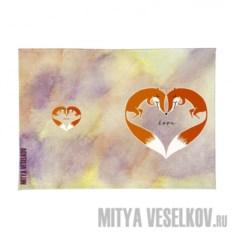 Обложка для автодокументов Влюблённые лисички с сердечком