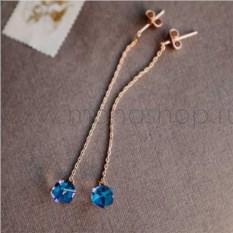 Серьги-подвески «Миражи» с синими кристаллами-хамелеонами