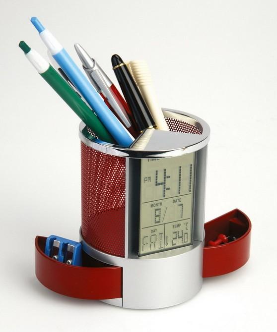 Набор под канцелярию с часами, датой и термометром, красный