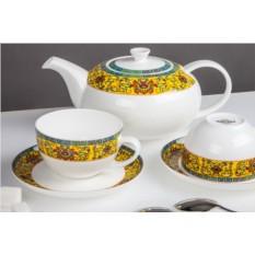 Чайный фарфоровый сервиз Восторг из 13 предметов