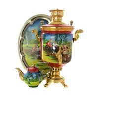 Угольный (жаровый, дровяной) самовар с росписью Тройка