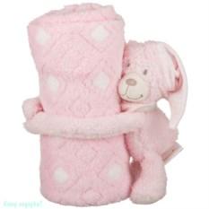 Плед с игрушкой «Розовый мишка», 100х75х13 см