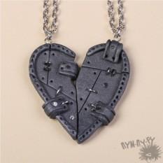 Парные кулоны Половинки сердца в стиле стимпанк