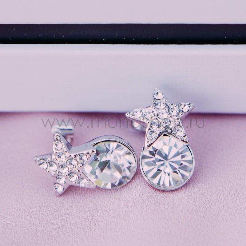 Серьги с белыми кристаллами Сваровски «Звездочки»