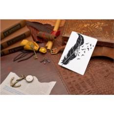 Кожаная обложка для документов Перья и птицы