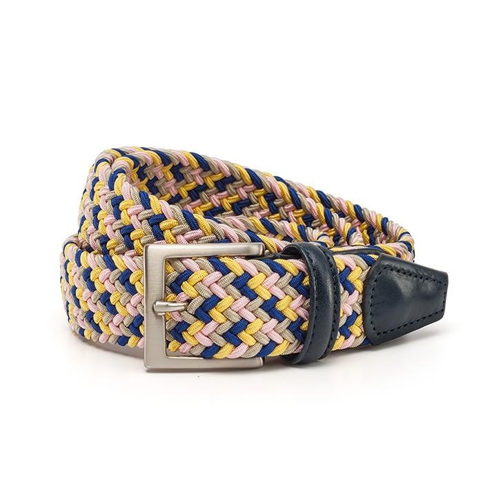 Ремень Anderson`s, плетёный, розовый-желтый-синий