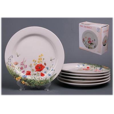 Набор тарелок из 6  шт.«Маки полевые»