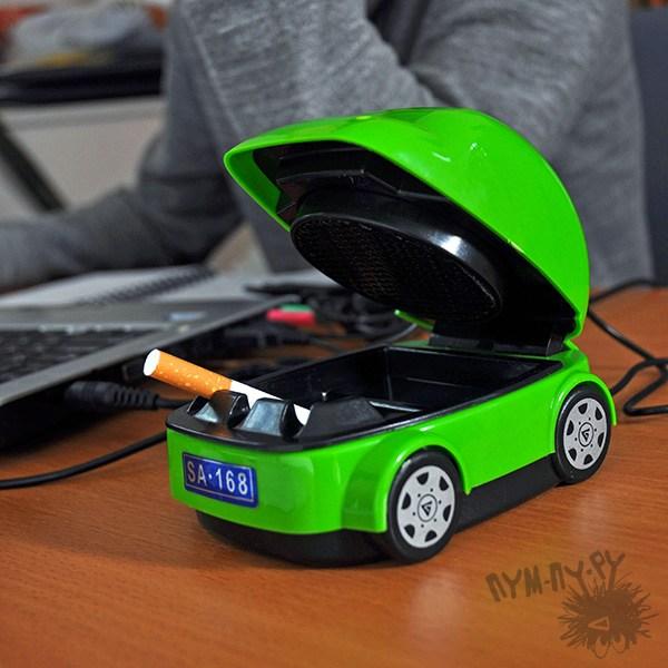 USB пепельница-машинка – ловит ваш дым (салатовая)