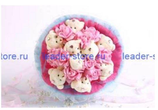 Букет из игрушек Мишки с розами