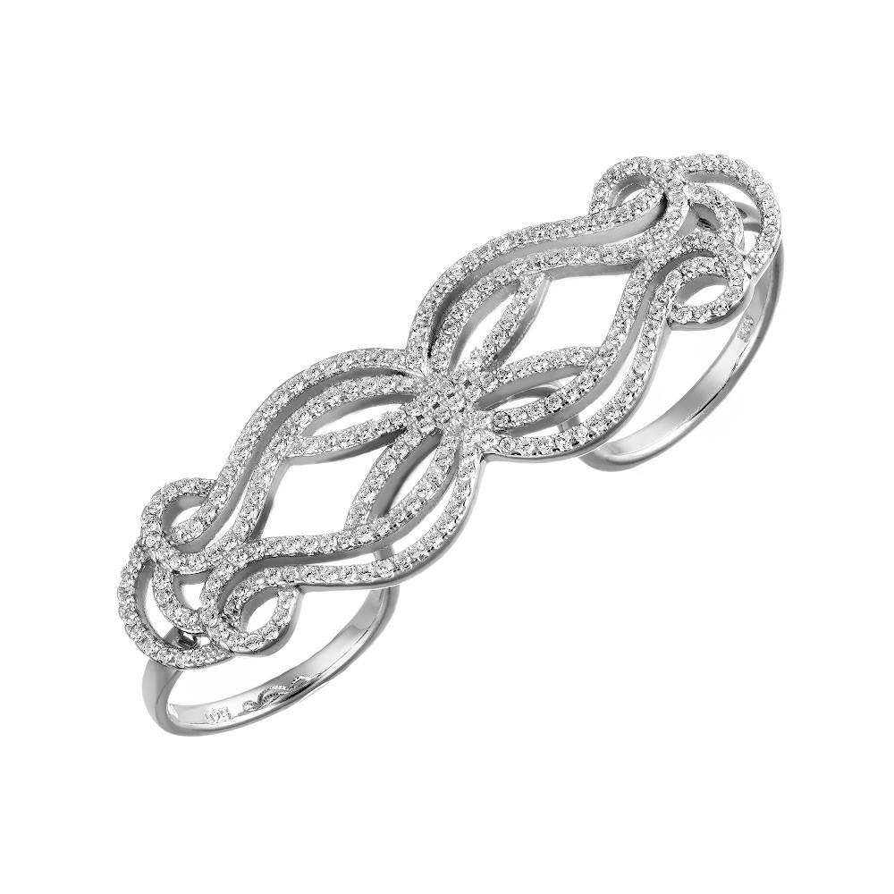 Серебряное кольцо с  узорами из фианитов