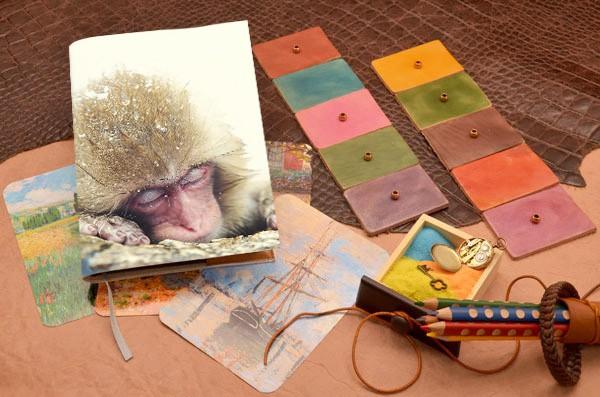 Белый кожаный ежедневник Спящая обезьянка Elole Design