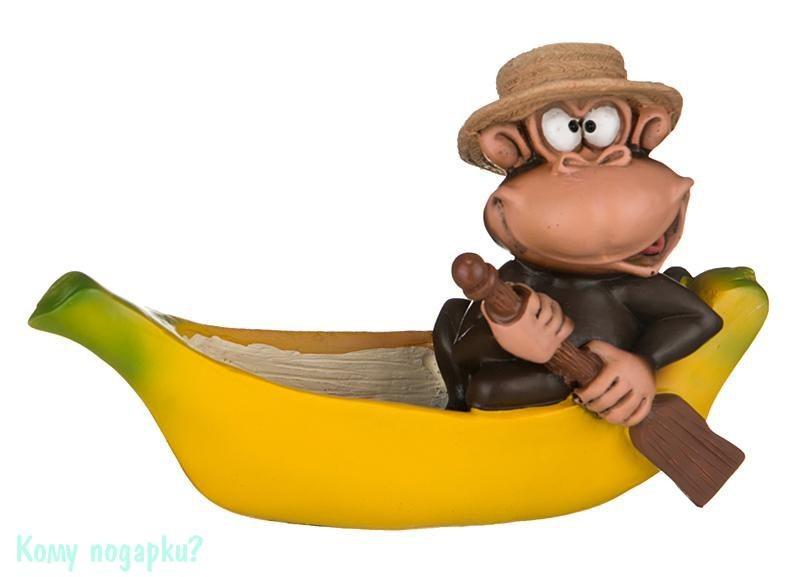 Фигурка «Обезьяна в лодке из банана» (h=9 см, l=14 см)