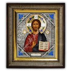 Икона с эмалями Господь Вседержитель