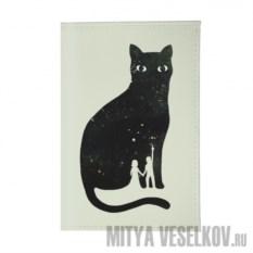 Обложка для автодокументов Космическая кошка
