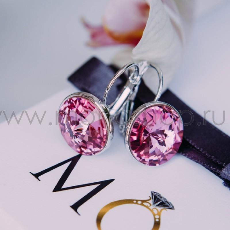 Серьги с розовыми кристаллами Сваровски Чародейка