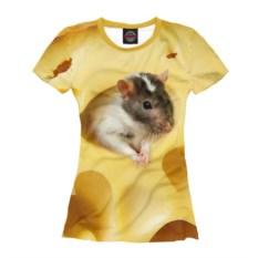 Женская футболка Мышь в сыре