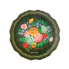 Круглый поднос Цветы на зеленом фоне