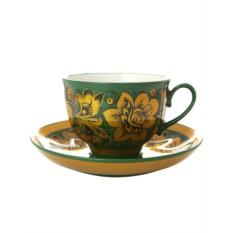 Чайная пара с росписью Кудрина на зеленом фоне
