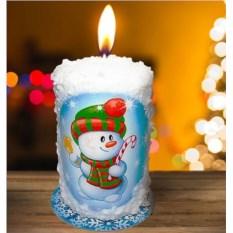 Новогодняя свеча «Снеговик с тростью»