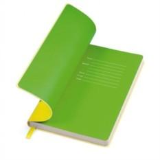 Желтый бизнес-блокнот Funky с зеленым форзацем