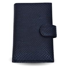 Черное портмоне из питона с отделениями для автодокументов