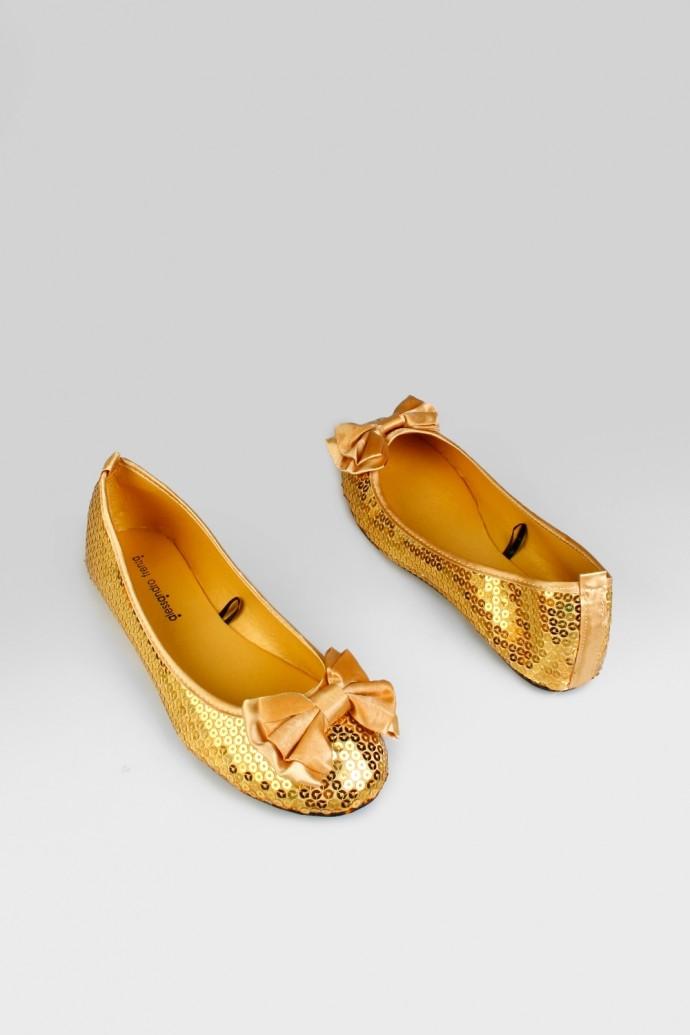 Женские балетки Спарклз, золото