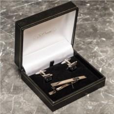Набор с гравировкой запонки и зажим для галстука Эталон