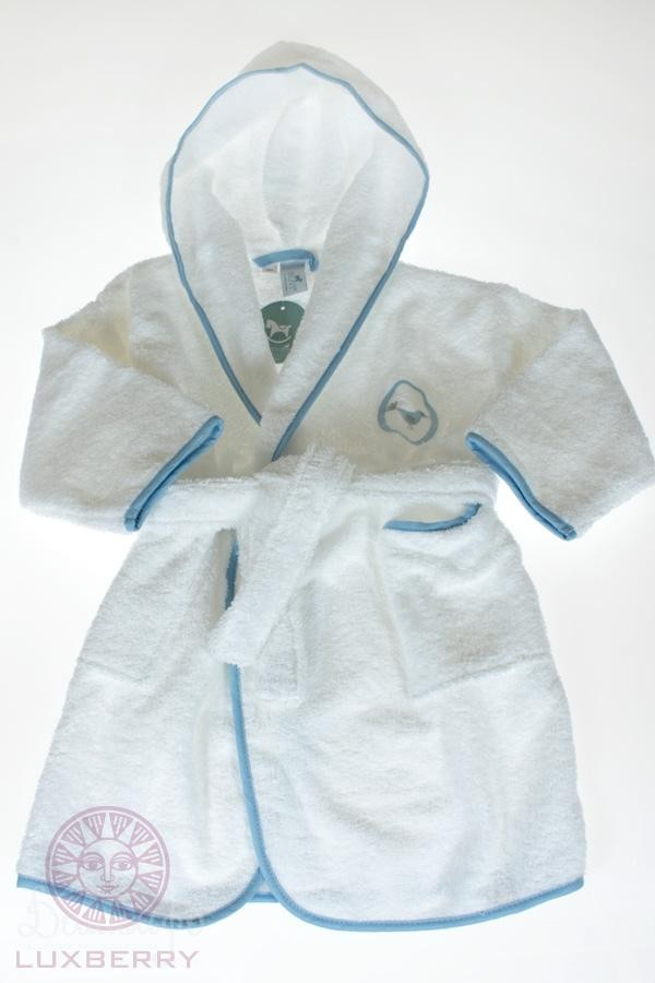 Халат детский Птички бело-голубой