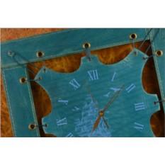 Часы из кожи Морское приключение (синий, квадратная рама)