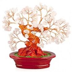 Бонсай (17 см) Розовый кварц (дерево счастья из натуральных камней)