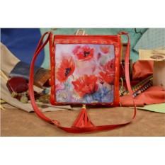 Женская сумка-планшет с принтом Поле маков