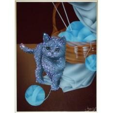 Картина с кристаллами Swarovski Игривый котенок