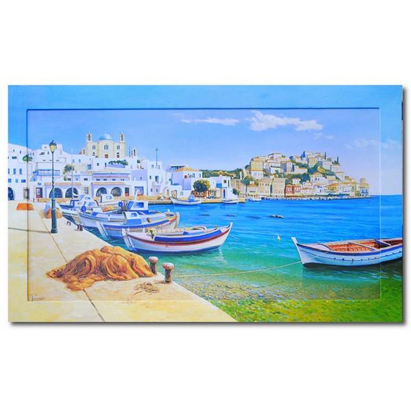 Картина Лазурное море и белый город, (репродукция с подрисовкой на раме)