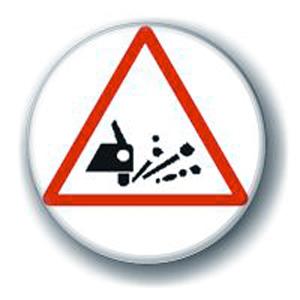 Значок «Внимание: выброс гравия»