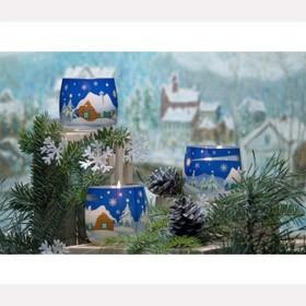 Свеча новогодняя Зимний пейзаж в стакане