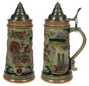 Коллекционная пивная кружка с крышкой Мюнхен