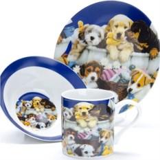Синий набор детской посуды 3 предмета Собачки